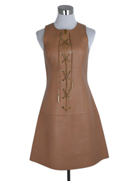 Michael Kors Neutral Tan Leather Gold Lace Up Dress 1