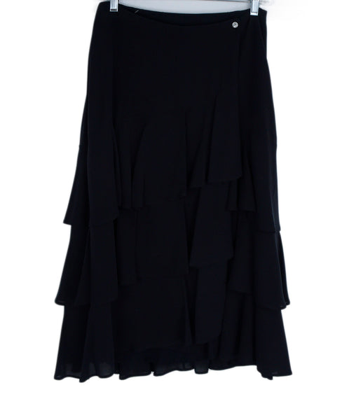 Michael Kors Black Silk Ruffle Tiered Skirt 1