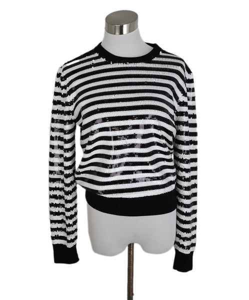 Michael Kors Black White Stripes Sequins Sweater 1