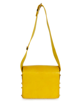 Michael Kors Yellow Mustard Leather Shoulder Handbag 1