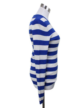 Michael Kors Blue and White Striped Cashmere Sweater 1