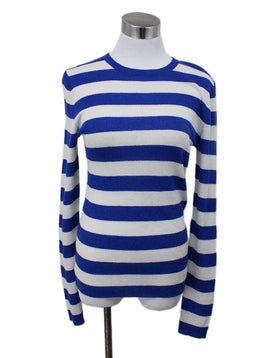 Michael Kors Blue and White Striped Cashmere Sweater