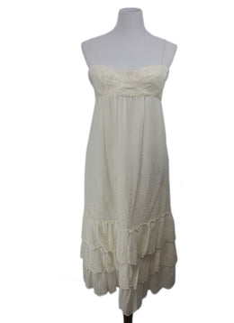 Michael Kors White Cream Eyelet Ruffle Cotton Dress 1