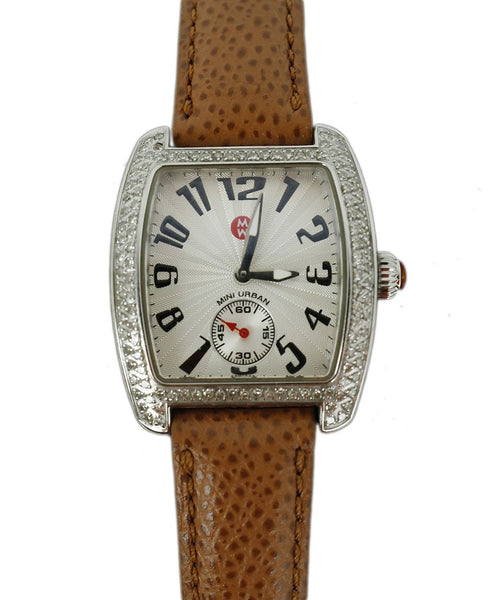 Michele Metallic Stainless Steel Diamond Brown Strap Watch 2