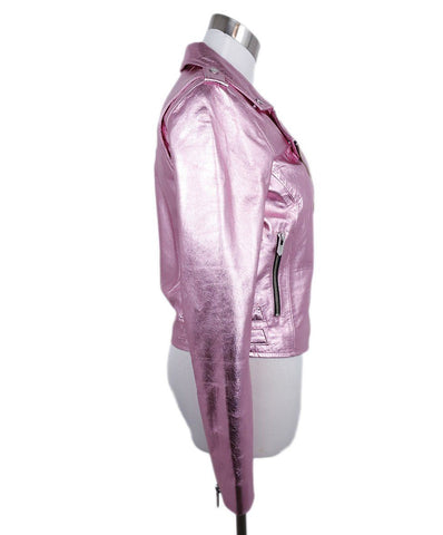 The Mighty Company Metallic Pink Leather Moto Jacket 1