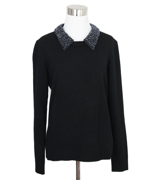 Milly Black Viscose Embellish Neck Sweater 1