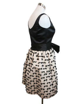 Milly Black White Polyester Bow Detail Dress 2