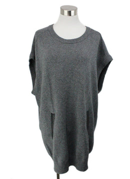 Milly Grey Wool Tunic with Black Leather Trim 1