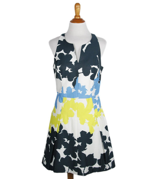 Milly Navy Yellow Ivory Print Cotton Dress Sz 6
