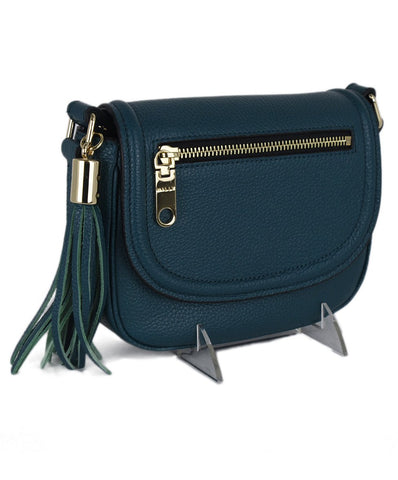 Milly Green Teal Leather Crossbody Handbag 1