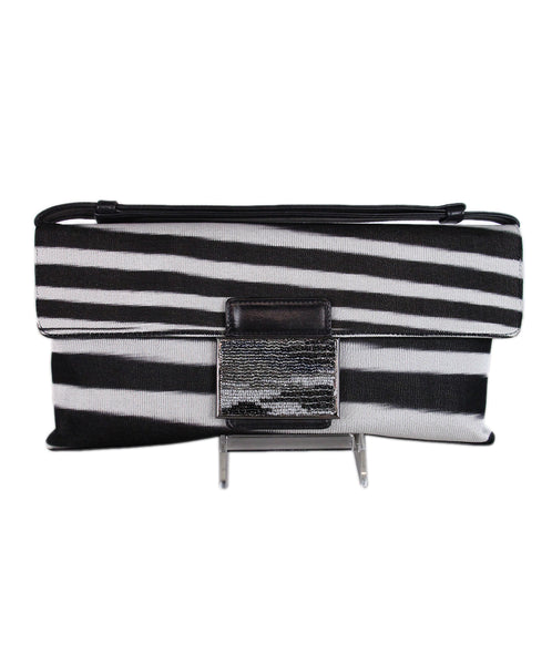 Missoni Black White Canvas Clutch 1