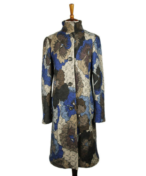 Missoni Blue Brown Floral Mohair Wool Coat Sz 6