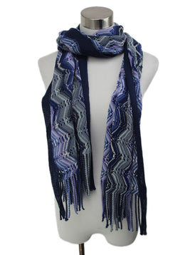 Missoni Blue Purple Wool Acrylic Knit Scarf 1
