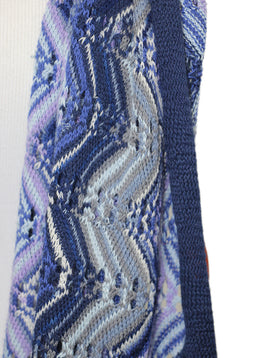 Missoni Blue Purple Wool Acrylic Knit Scarf 2