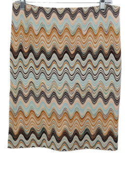 Missoni Brown Aqua Wool Tan Skirt 1