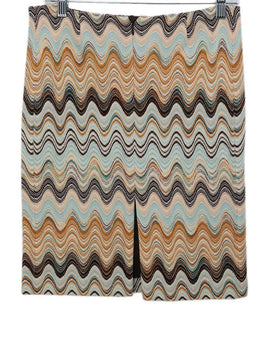 Missoni Brown Aqua Wool Tan Skirt 2