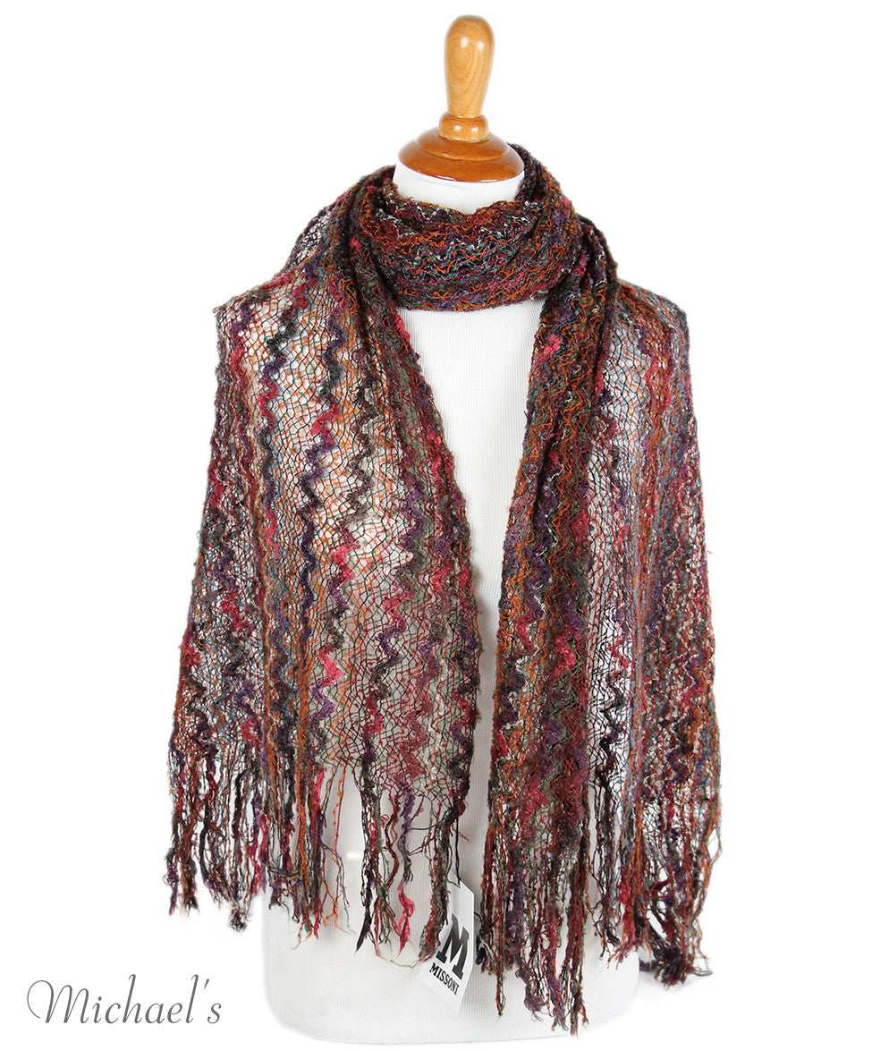 M Missoni Brown Rust Purple Rayon Scarf - Michael's Consignment NYC  - 3