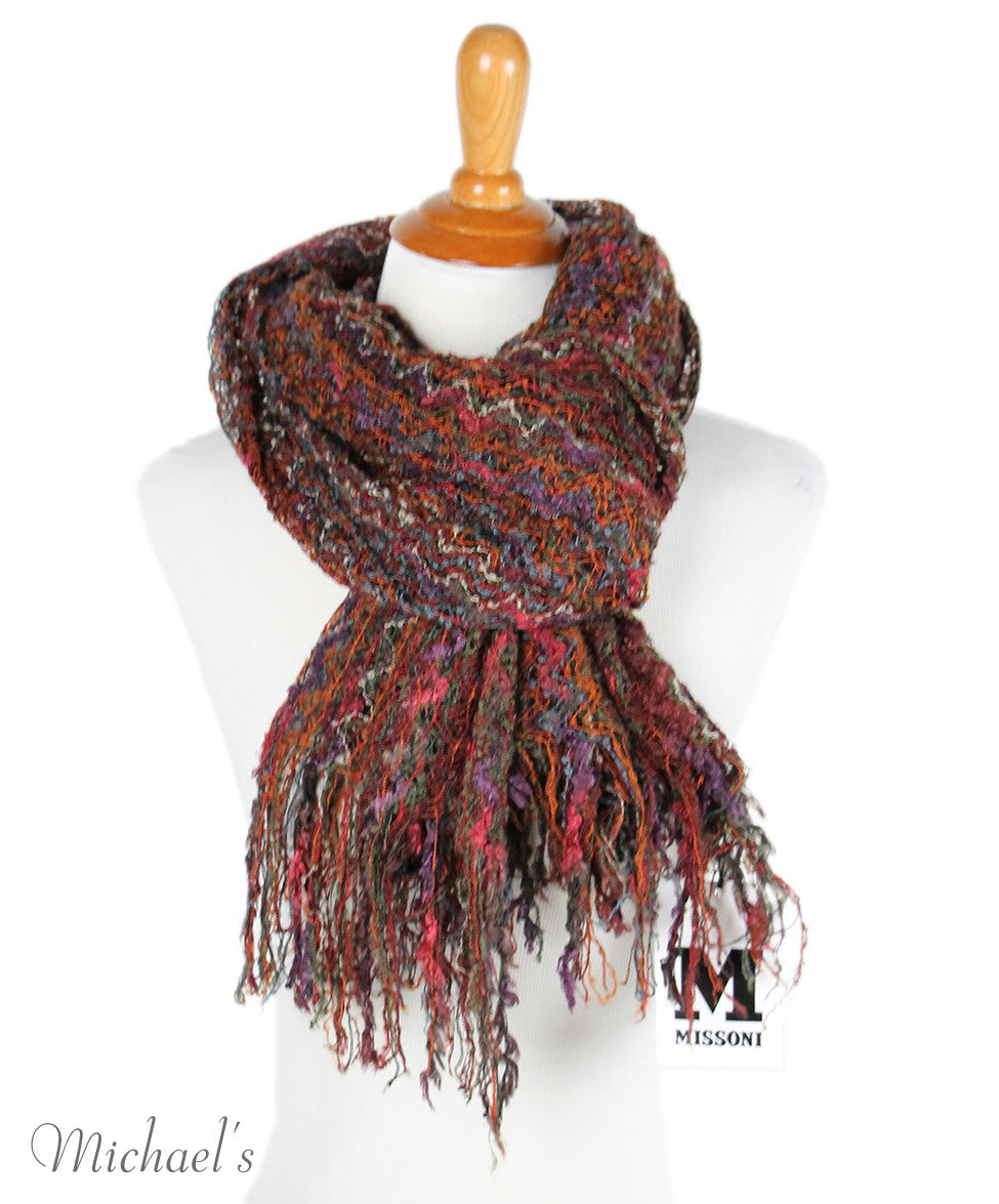 M Missoni Brown Rust Purple Rayon Scarf - Michael's Consignment NYC  - 4