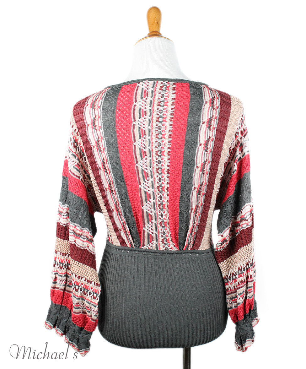 Missoni Burgundy Grey Coral Knit Sweater Sz 2 - Michael's Consignment NYC  - 3