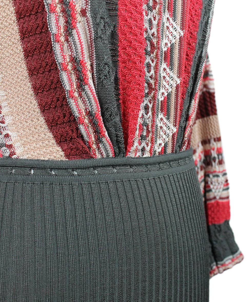 Missoni Burgundy Grey Coral Knit Sweater Sz 2 - Michael's Consignment NYC  - 5