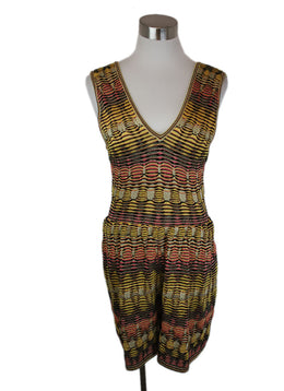 Missoni Jumpsuit Black Yellow Pink Viscose Knit Suit 1