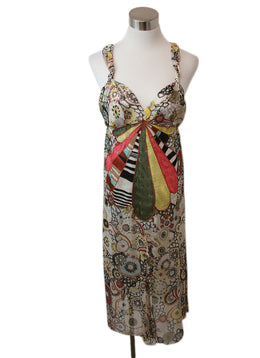 Missoni Olive Pink Yellow Print Silk Dress 1