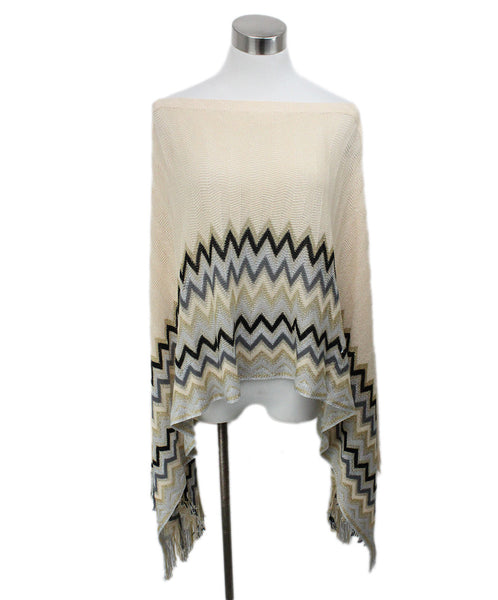 Missoni Neutral Peach Chevron Knit Detail Poncho 1