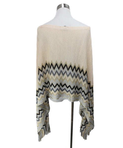 Missoni Neutral Peach Chevron Knit Detail Poncho 2