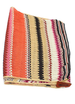 Missoni Orange Tan Fucshia Brown Viscose Scarf