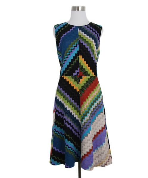 Missoni Black Lilac Teal Viscose Sleeveless Dress Sz. 4