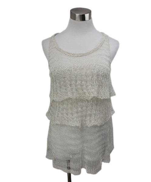 Missoni White Silver Cotton Knit Top 1