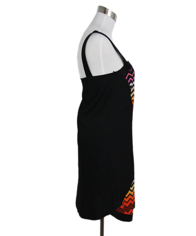 Missoni Black Orange Rayon Pink Viscose Dress 1