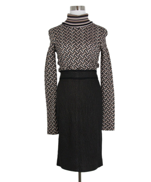 Missoni Black Taupe Rayon Knit Black Leather Dress 1