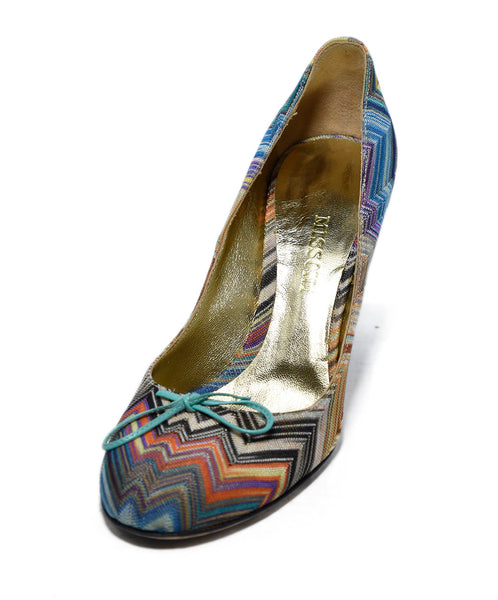 Missoni Blue Aqua Orange Lilac Viscose Leather Heels 1