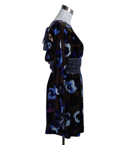 Missoni Brown Purple Floral Velvet Beaded Dress 1