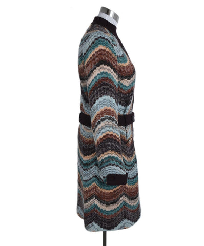 Missoni Brown Teal Burgundy Wool Sweater 1