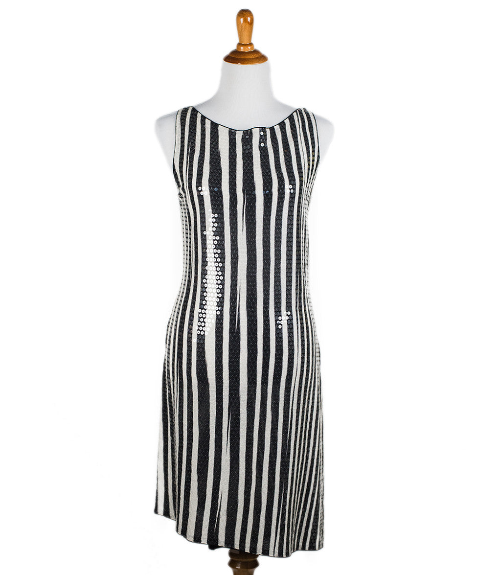 Missoni Black White Stripe Sequin Dress Sz 44 - Michael's Consignment NYC  - 1