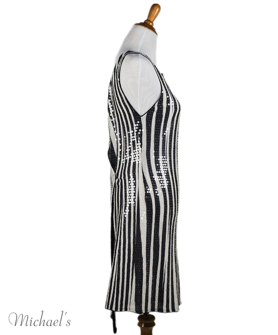 Missoni Black White Stripe Sequin Dress Sz 44 - Michael's Consignment NYC  - 2
