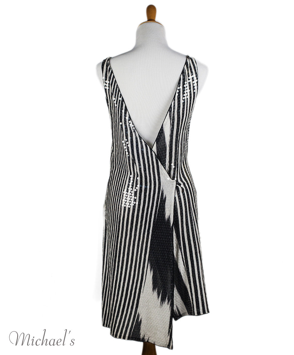 Missoni Black White Stripe Sequin Dress Sz 44 - Michael's Consignment NYC  - 3