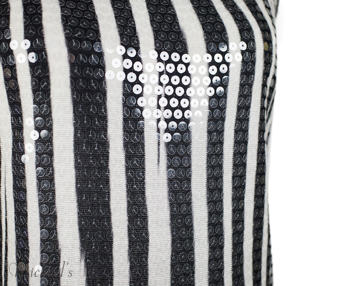 Missoni Black White Stripe Sequin Dress Sz 44 - Michael's Consignment NYC  - 5