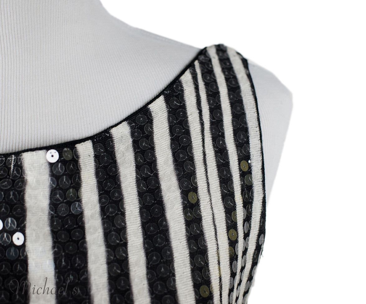 Missoni Black White Stripe Sequin Dress Sz 44 - Michael's Consignment NYC  - 4