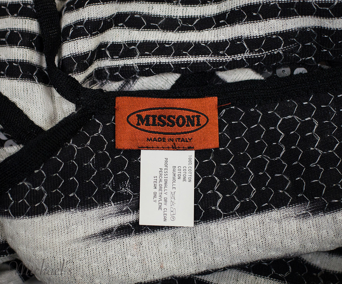 Missoni Black White Stripe Sequin Dress Sz 44 - Michael's Consignment NYC  - 8