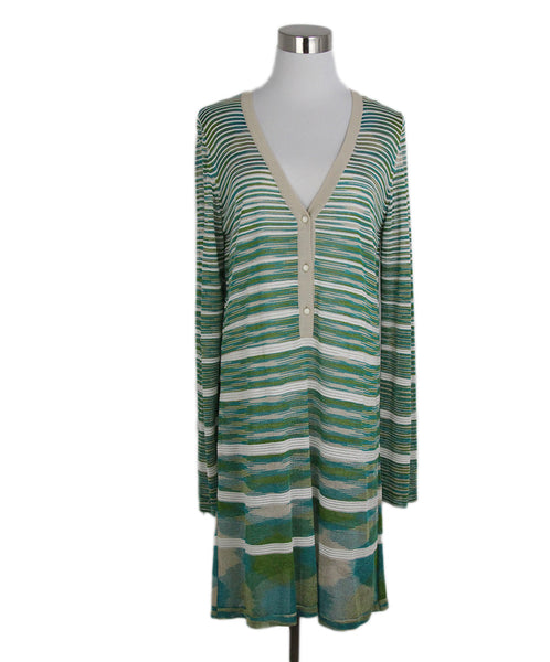 Missoni Green Cream Nylon Stripes Polyester Dress 1