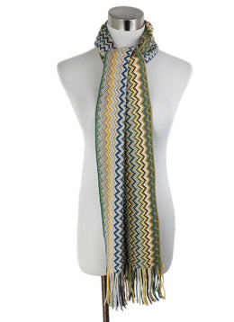 Missoni Green Yellow Blue Wool Scarf 1