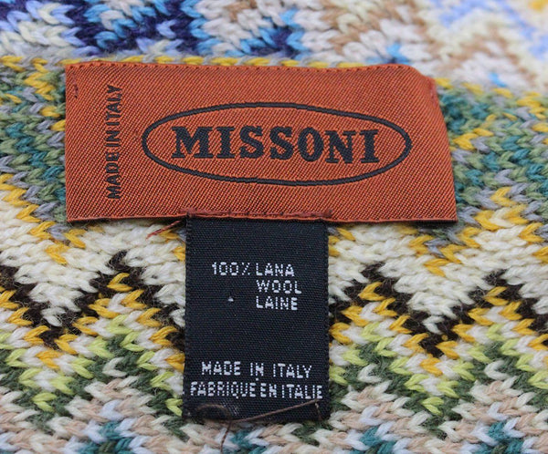 Missoni Green Yellow Blue Wool Scarf 3