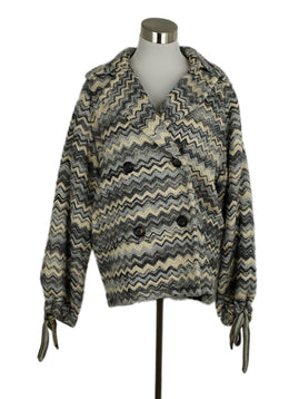 Missoni Grey Blue White Print Wool Coat Outerwear 1