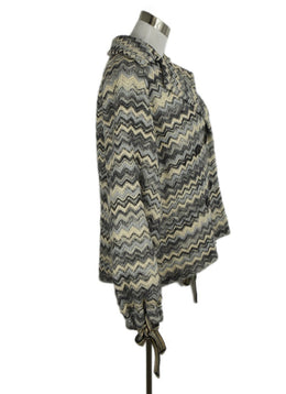 Missoni Grey Blue White Print Wool Coat Outerwear 2
