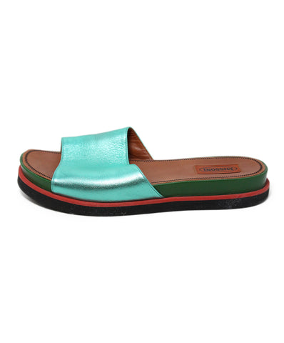 Missoni Metallic Green Leather Slides 1