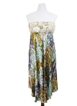 Missoni Multi Green Blue Orange Floral Beaded Silk Dress 1