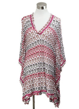 Cover-up Missoni Pink White Print Viscose Beachwear 1